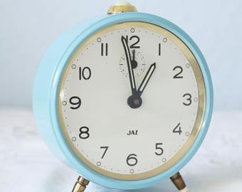 Vintage Mechanical Aqua Blue Metal Alarm Clock, Jaz