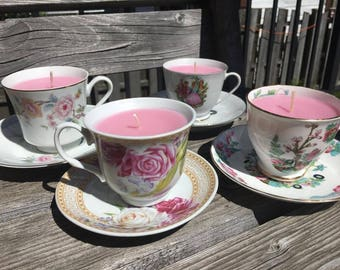 Peony Scented Tea Cup Candles