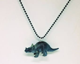 Dinosaur Necklace Black Ball Chain Black Triceratops Dinosaur Jewelry Gifts 5 and Under