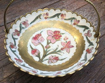 Vintage Brass Cloisonne Bowl With Handle- Hand Painted-Made in India-Brass Trinket Bowl-Solid brass bowl-dish--floral design-enamel paint