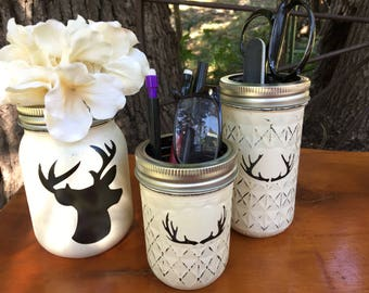 Deer Mason Jar Desk Set-Cabin Desk Set-Mason Jar Office-Desk Organizer-Antler Jar-Mason Jar Set-Office Set-Desk Decor- Desk Set-cabin decor-