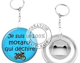 Keychain bottle opener / I'm a biker who rocks