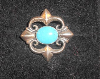 Vintage Carolyn Pollack Relios Pendant Done in Sterling Silver & Turquoise Fleur de Lis Pattern Southwestern Jewelry