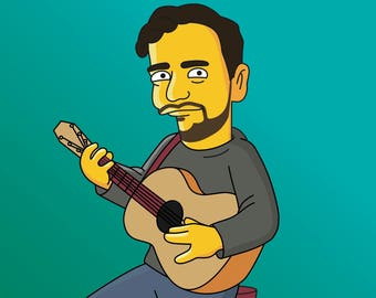 Guitar Player Gift  - Custom Portrait from your Photo as Yellow Cartoon Character