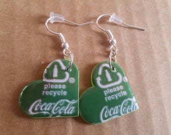 Small Heart Earrings made from Coca Cola Life can