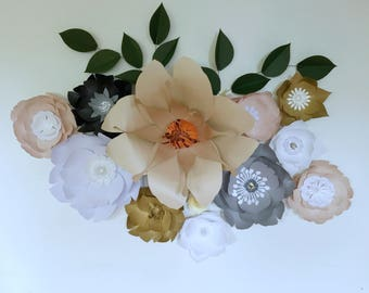 Paper flowers wall decor neutral colors, gold/neutrals paperflower wall, girl baby nursery room decor, wedding paper flower backdrop, props