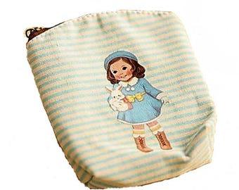 beige cotton purse girl