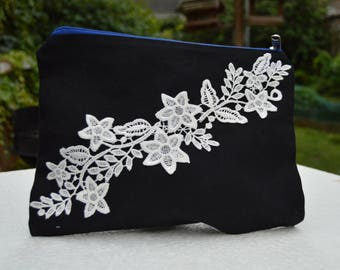 Pouch with white guipure lace