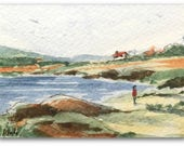 Landscape ORIGINAL Miniature Watercolour 'A Stroll by the Lake' ACEO For him, For her, Home Decor Wall Art Gift Idea, Free postage worldwide