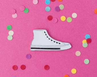 White sneakers enamel pin