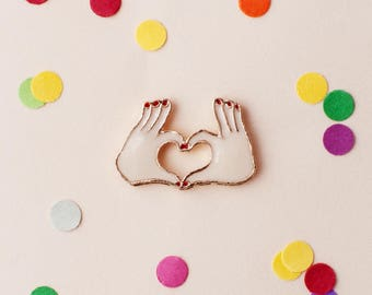 Hands heart enamel pin