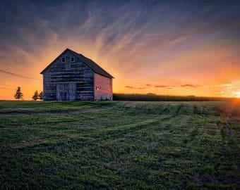 Barn Sunset, Landscape Photograph