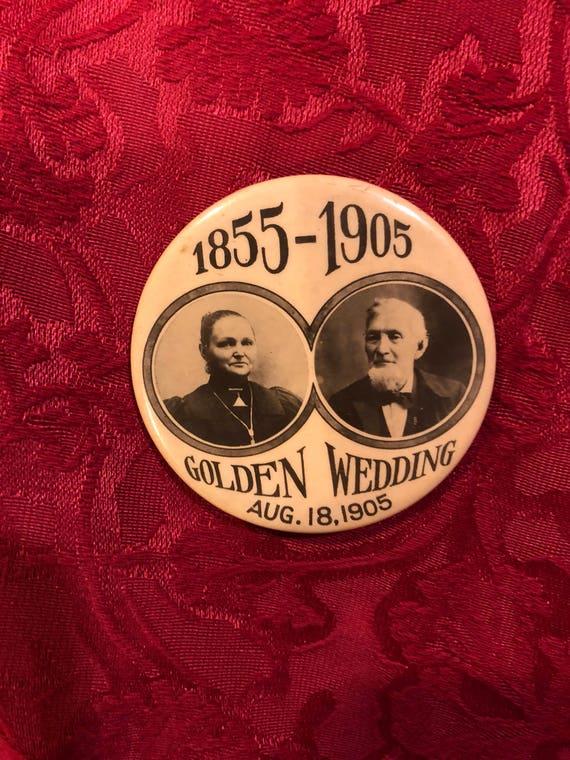 FREE SHIPPING -Celluliod Golden Wedding Button-1855-1905