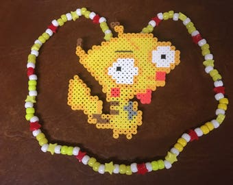 Pikachu Gir perler on a Kandi necklace