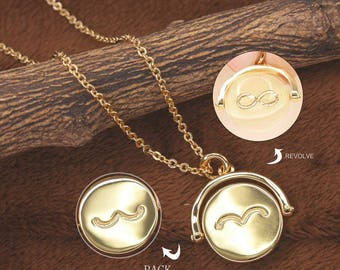 Gold Half Infinity Sign Necklace, Inspirational Quote Necklace, Charm Necklace, Two Sided Necklace, Spinning Necklace BN870-G1