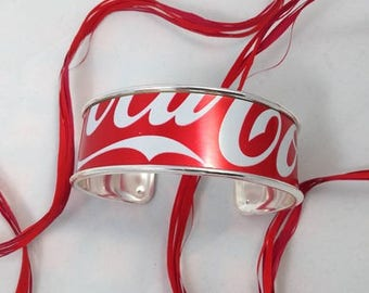 Red and white recycled bobbin Cuff Bracelet