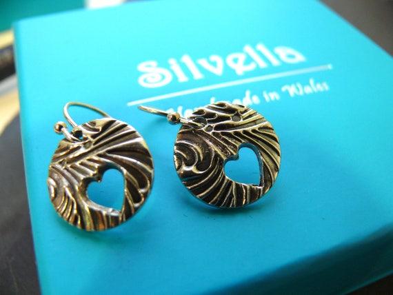 Silver Earrings - Heart Earrings - Silver Dangle Earrings - Textured Earrings - Unique Earrings - Gift for Her - Birthday Gift - Mothers Day