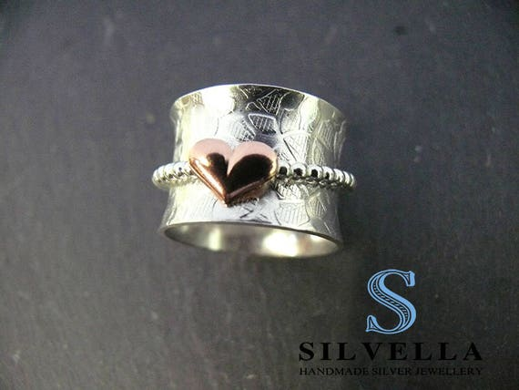 Sterling Silver 'Worry Ring' or 'Spinner Ring' - Hallmarked in London and Handmade in Wales - Chunky Silver Ring
