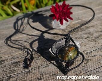 Green Quartz & Garnets Black Macrame Necklace. Astrology Gift Jewelry. Elegant Wife Gift. Libra Jewelry. Micro Macrame by Macrame Tralala