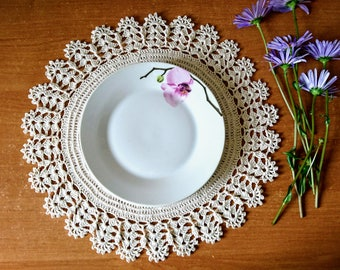 Crochet round table doily - VALERY serving trays plate stand, table cover - set of doilies coaster - wall decor