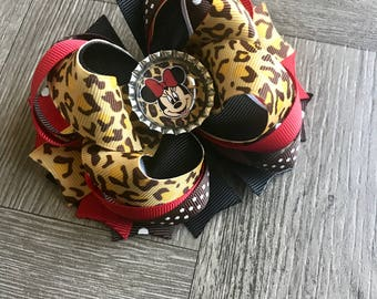 Minnie Mouse Hair Bow, Minnie Hair Bow, Minnie Mouse Bow, Leopard Print Hair Bow, Leopard Print Bows, Animal Print Hair Bow, Hair Bow, Bows
