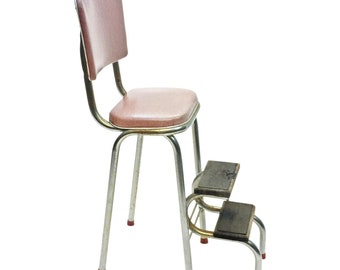 Vintage STEP STOOL pink metal industrial folding steel chair retro mid century modern flip top shabby cottage chic kitchen chrome 50s