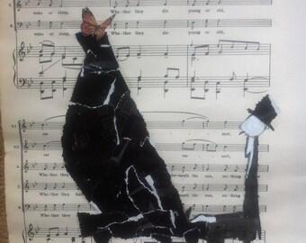 The pianist, original mixed media art, collage