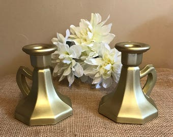 gold candle holders set of 2 gold candle holders gold taper candle holders - Gold Candle Holders