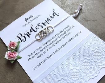 Dank u voor bruidsmeisje, bruiden meid geschenk, binden de knoop armband, Wish armband voor bruiloft, bruidsmeisje armband, Maid of honor geschenk, ZB8a