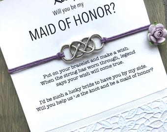 Be my maid of honor, Maid of honor bracelet, Asking gift,  Maid of honor proposal, Will you be my maid of honor, Asking bridesmaids, B1