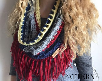 Crochet Scarf Pattern - Infinity Lace Scarf - Crochet Scarf Pattern - Mesh Scarf - Spring Scarf Pattern - The Melody Fringe Scarf