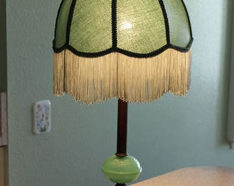 Jadeite Table Lamp Jadeite Boudoir Lamp Dome Fringed Shade 1940s Bedroom Lamp Shabby Chic 27 Inches Tall Excellent Working Condition