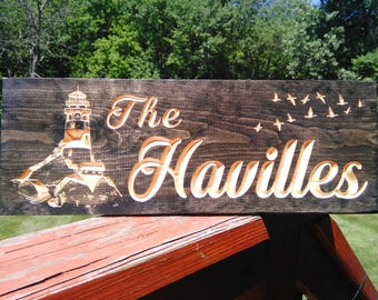 Custom Carved Family Name Sign with Lighthouse