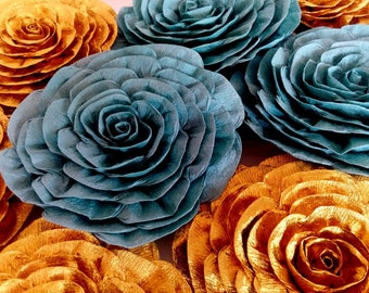 10 Gold teal Giant large paper flowers kate bridal spade shower baby backdrop wall wedding Ceremony gatsby great nursery decor graduation