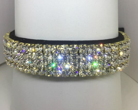 Sugarlicious Pets ™  ~Opulent Diamonds & Black Velvet ~ Crystal Diamante Rhinestone Dog Pet Collar WIDE with LARGE Stones USA