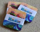 Four Art Coasters by Bridget Wilkinson - Set 2