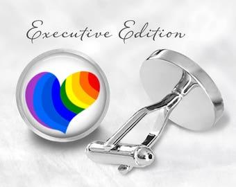 Rainbow Heart Cufflinks - Rainbow Cufflink - Heart Cuff Links - Rainbows Hearts (Pair) Lifetime Guarantee (S0985)