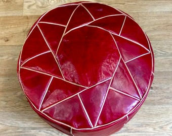 Vintage Red Leather Handmade Moroccan Tunisian Pouffe Footstool