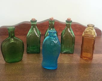 Instant Collection- 6 Small Glass Bottles of different colors and shapes