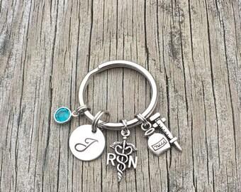 20%OFF Summer Sale- RN keychain - Nurse keychain - Nurse Gift - RN Gift - Nurse Graduation - Nurse Jewelry - Gift For Nurse - Personalized -