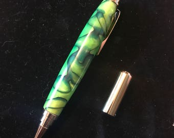 Handmade Green Acrylic Pen with FREE BOX!