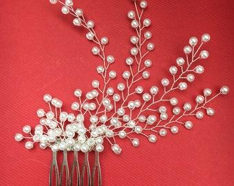 Bridal Hair Jewelry Headband hair comb with beading beads in hair bridal wedding hair flower girl