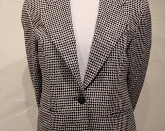 Vintage ADOLFO International Houndstooth Single Button Blazer