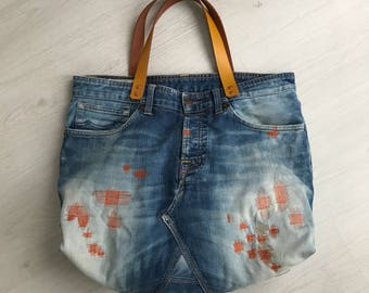 Repurposed K.O.I denim bag, tote bag