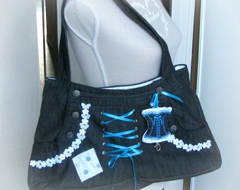 Recycled denim corset theme bag