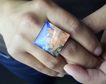 Wall Street Rock Formation  at Arches National Park Ring on Adjustable Ring Base   Photo Jewelry Square Ring Desert Landscape Souvenir Ring
