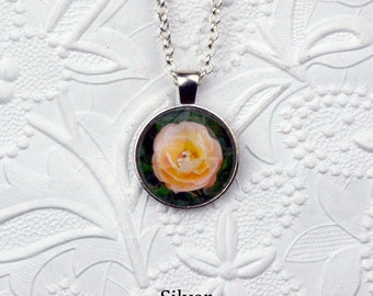 Peach Rose Photo Necklace Rose Necklace Rose Pendant Flower Necklace