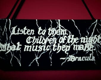Handpainted Dracula/Vampire/ Gothic Wall Plaque