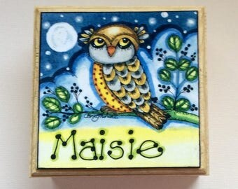 Personalised box, personalised gift,Owl gift,jewellery box,decorative box,Christmas gift, Birthday gift,whimsical gift,stocking filler,