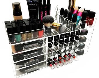 Makeup Organizer Etsy - Cosmetic makeup organizer wood countertop organizer by lessandmore